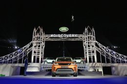 New Discovery Unveiling Packington Hall September 27 2016 in Solihull, England. Land Rover revealed their brand new Discovery with the help of ambassadors Zara Phillips, Bear Grylls and Sir Ben Ainslie against the backdrop of the replica of London's Tower Bridge, made entirely from Lego. The structure broke the Guinness World Record for the greatest number of Lego bricks used in a sculpture with over 5.8 million pieces. (Photo by Dan Kitwood/Getty Images for Land Rover) *** Local Caption *** Bear Grylls