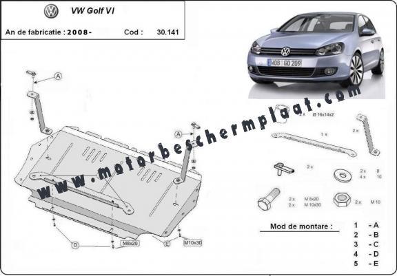 Motor, Versnellingsbak en Radiator Beschermplaat voor VW
