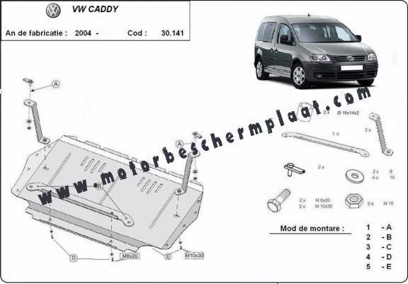 Motor, Versnellingsbak en Radiator Beschermplaat voor VW Caddy