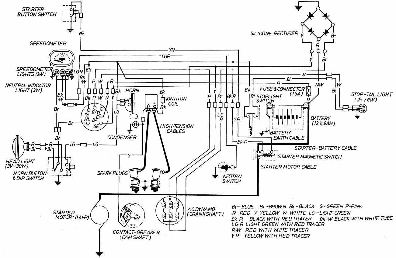 12v electrical wiring diagram of honda z50jp