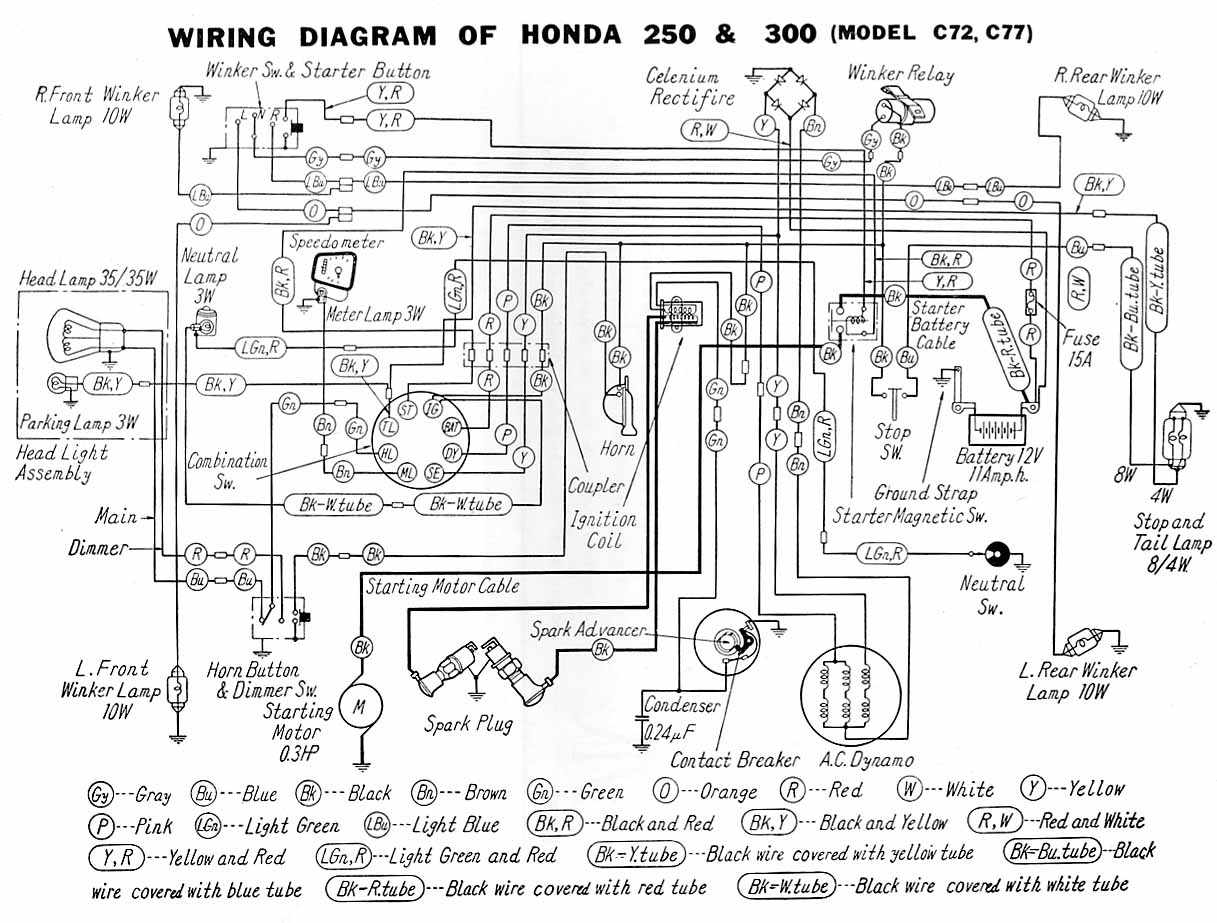 small resolution of electrical wiring diagram of honda c72 and c77