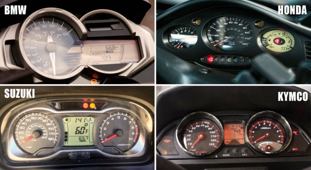All four instrument clusters feature tachometers (a small LCD bar graph on the BMW), though it only really matters on the Burgman.
