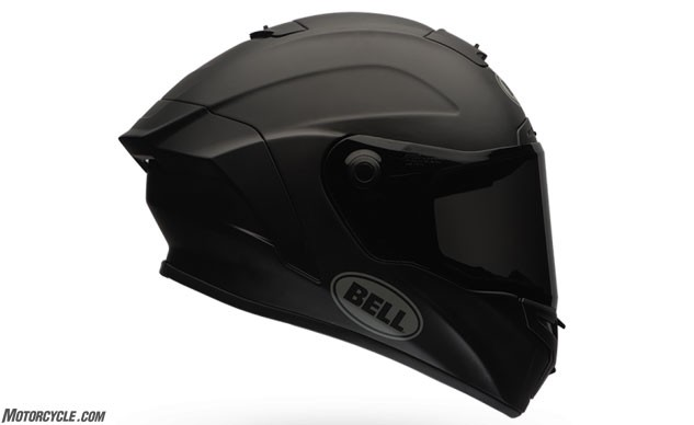 Solid colors, like this Matte Black or White, are $50 less at $449.95. The shell is a mix of Aramid, carbon fiber, and fiberglass, which Bell says has all the strength of carbon fiber in a less expensive helmet. It wears a Snell sticker in addition to a DOT one.