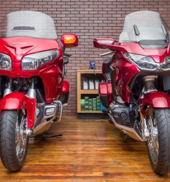 at 833 lbs full of gas the 2018 gold wing tour is claimed by honda to be 90 pounds lighter than the 2017 model that loss of weight will pay dividends in  [ 2216 x 1323 Pixel ]