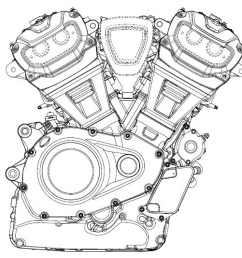 first off the designs affirm what we already know about the new engine platform the engine will be a 60 degree v twin with a very compact crankcase and  [ 2475 x 1667 Pixel ]