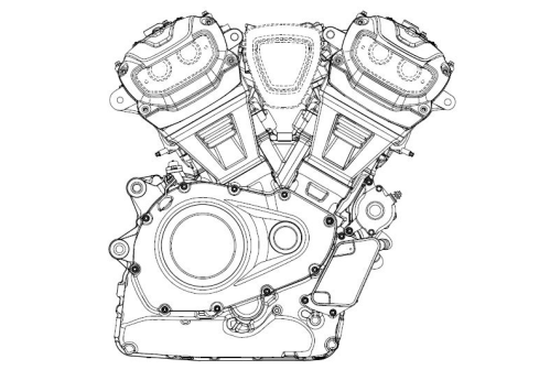small resolution of first off the designs affirm what we already know about the new engine platform the engine will be a 60 degree v twin with a very compact crankcase and