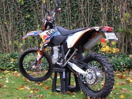 Dirt biker's dream come true? KTM's 530 EXC is essentially an off-road race bike with lights.