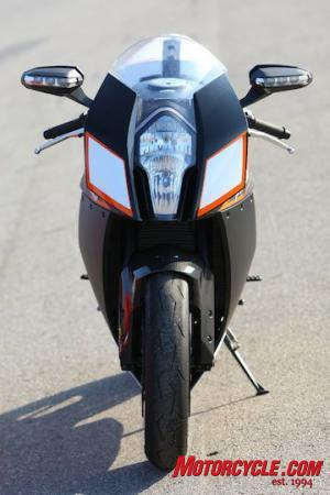 The RC8R is slim and menacing. Note the turnsignals in the mirrors.