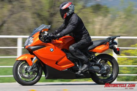 BMW's K1300S has a comfortably sporty riding position.