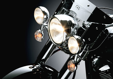 Different motorcycles feature a variety of lighting options.