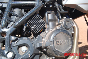 A moderately retuned and redesigned 800cc mill from BMW's F800S and ST powers the all-new F800GS. This engine is an ideal platform for a variety of types of riding and riding terrain.