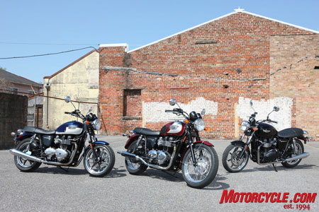 The new Bonneville family. The T100 is flanked by the SE on the left and basic Bonneville on the right. Both the Bonneville and SE receive cast-aluminum 17-inch wheels, lower seat and closer handlebars.