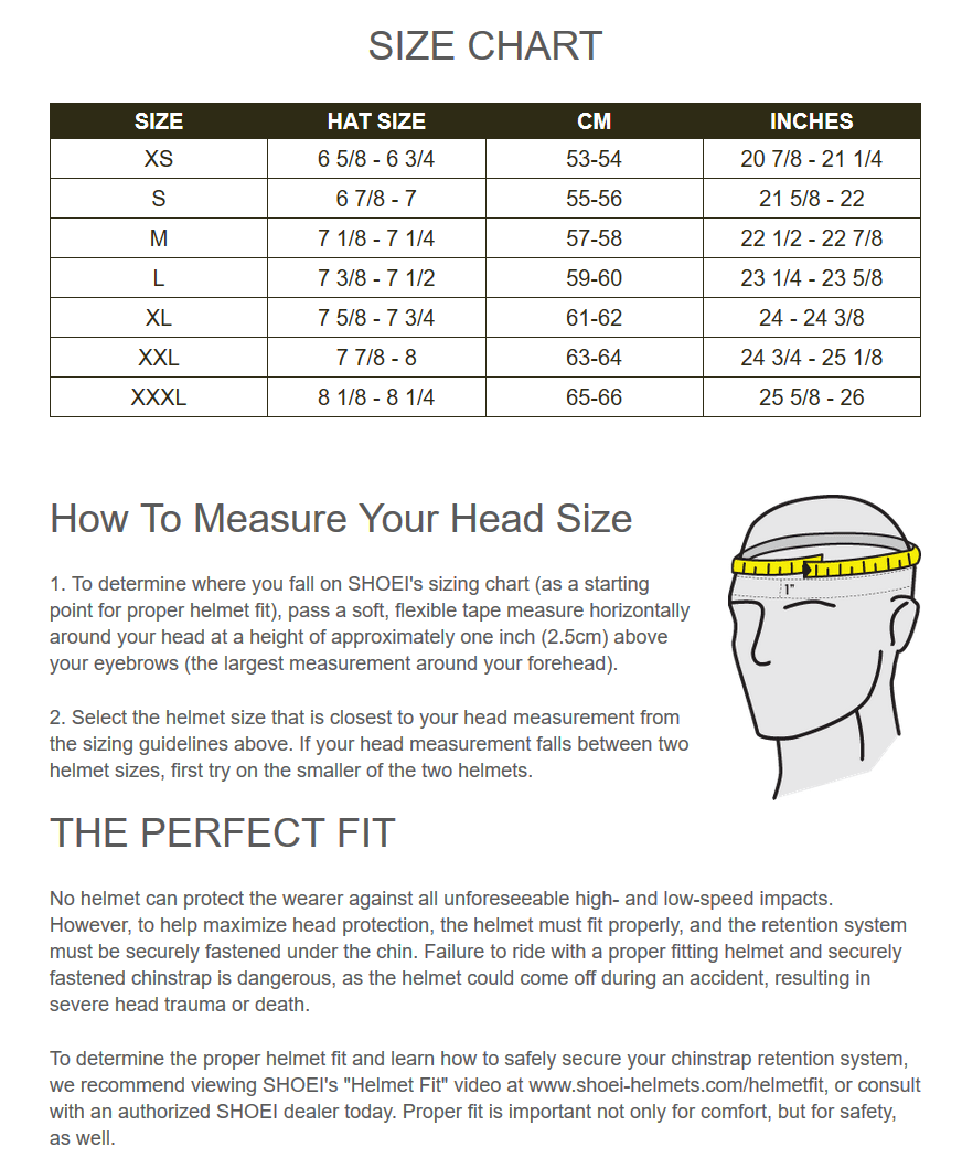Helmet size chart shoei american bathtub refinishers