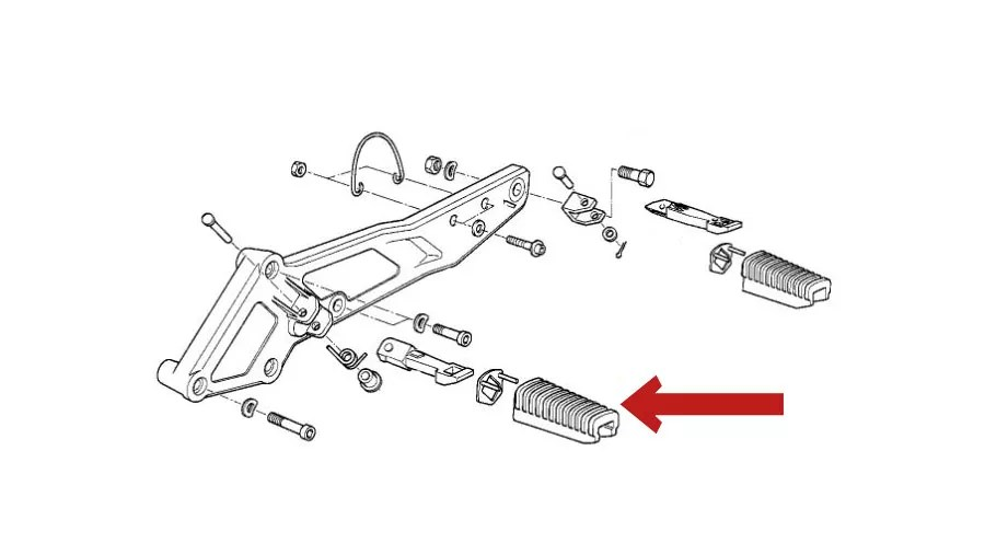 Foot-peg rubber (Driver) for BMW K1100RS & K1100LT