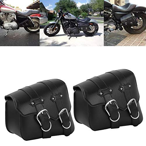 2 x Leather Solo Side Swing Arm Saddle Bag for  Sportster XL883 XL1200