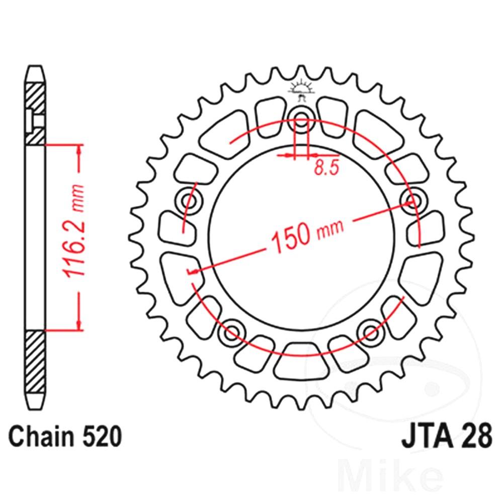 Rear Sprocket Aluminium 43 Tooth JTA28.43 For Aprilia RS