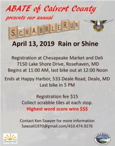 Spring Scrabble Run by  ABATE of Calvert County Maryland