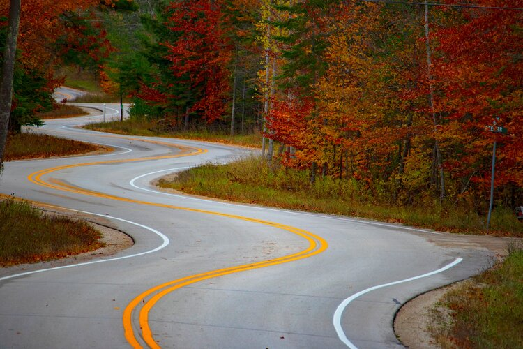 cornering a motorcycle - winding road through autumnal trees