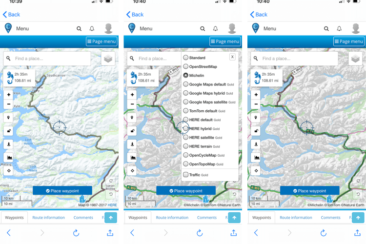 MyRoute-app - using map layers
