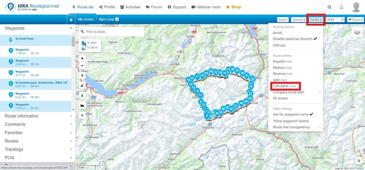 calculatin distance between waypoints - motorcycle route planner
