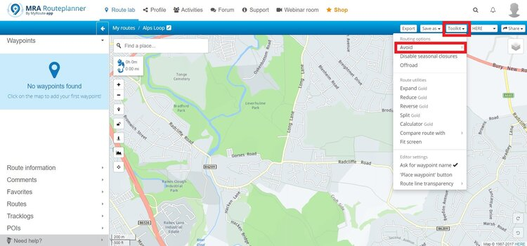 setting up avoidances - motorcycle route planner
