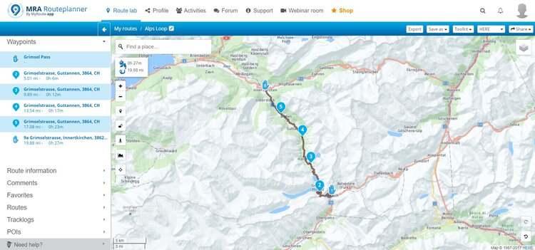 grimsel pass route - motorcycle route planner