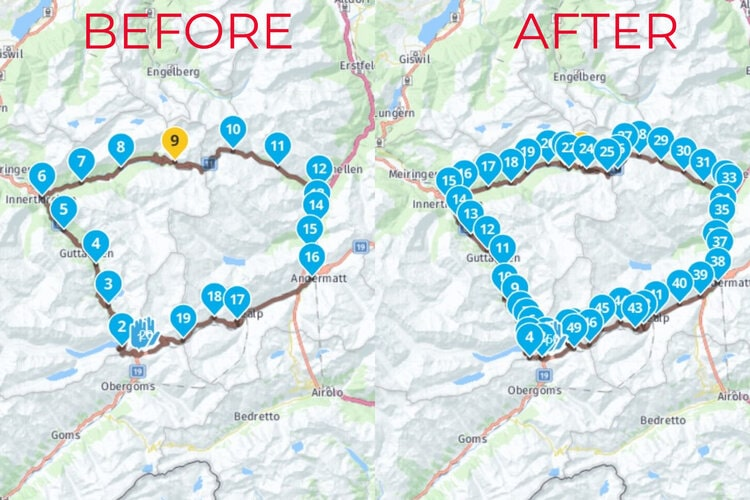 before and after waypoint expansion - motorcycle route planner