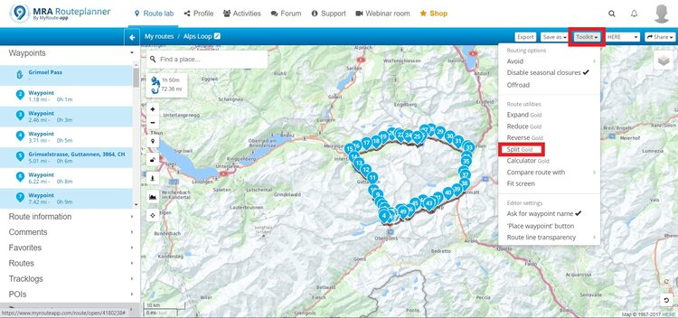 splitting route - motorcycle route planner