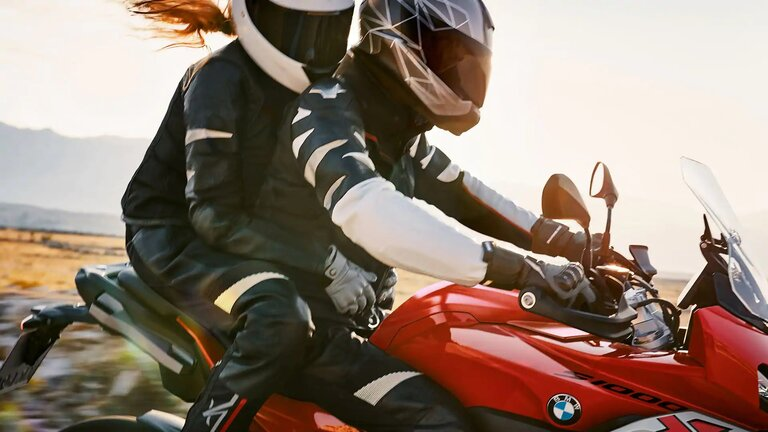 bmw xr with rider and passenger