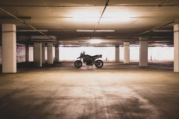 parked up motorcycle underground