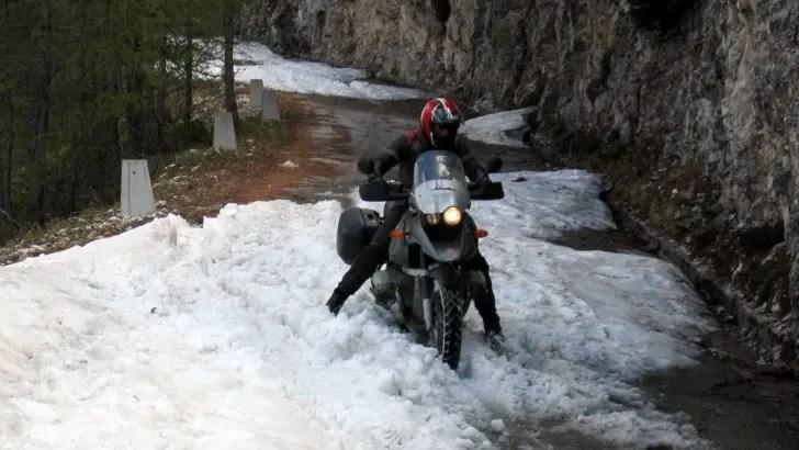 motorcycle riding through water