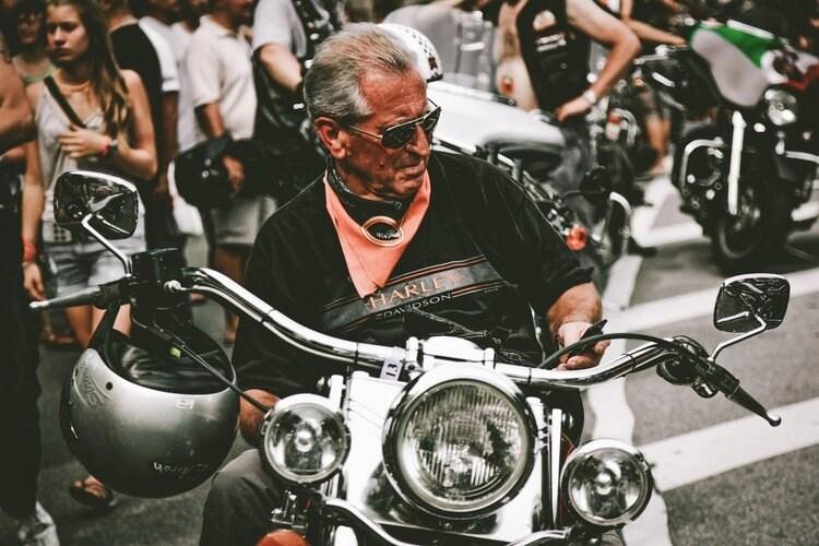 classic biker on harley davidson