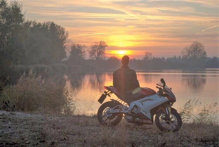 touring on a sportsbike at sunset