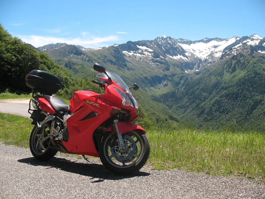 motorcycle on mountain - motorcycle touring style