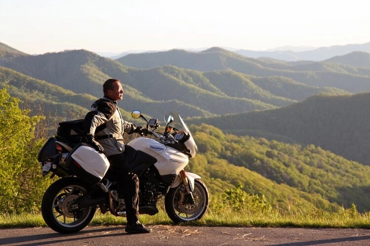 triumph motorcycle, mountain top - riding motorcycles and mental health