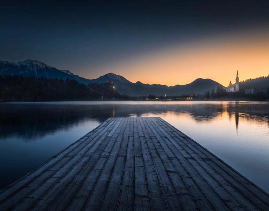 sunrise on lake bled, slovenia