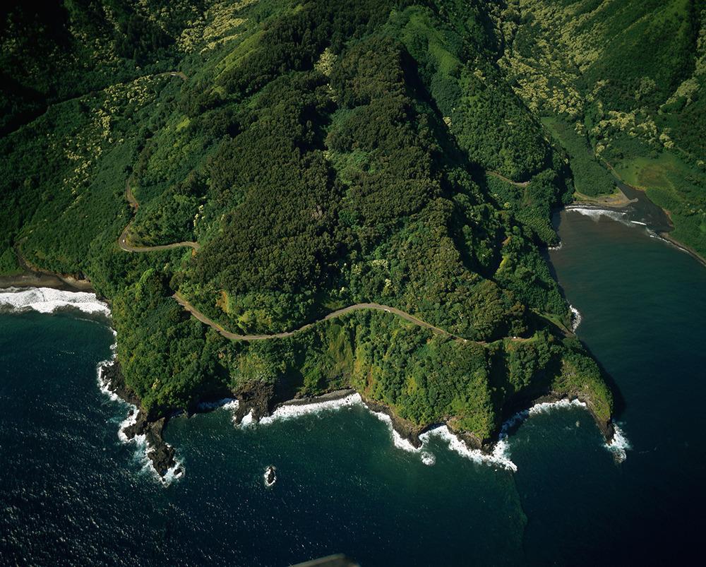 Aerial View of Winding Hana Road Along Slopes of Maui Coast