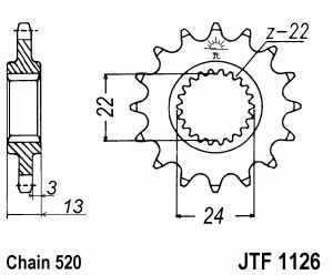 Kettenritzel Aprilia JTF 1126