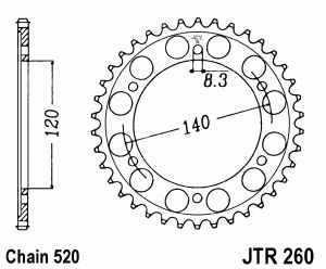 JT Kettenrad Stahl, Teilung 520, 260,38