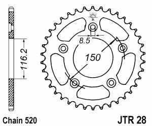 JT Kettenrad Stahl, Teilung 520, 28