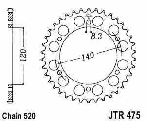 JT Kettenrad Stahl, Teilung 520, 475