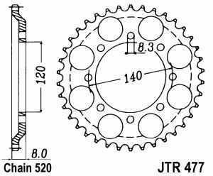 JT Kettenrad Stahl, Teilung 520, 477,43