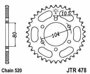JT Kettenrad Stahl, Teilung 520, 478
