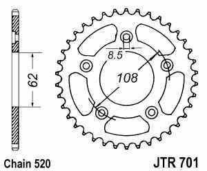 JT Kettenrad Stahl, Teilung 520, 701