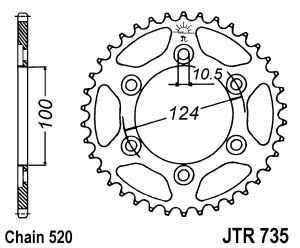 JT Kettenrad Stahl, Teilung 520, 735
