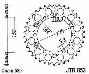 JT Kettenrad Stahl, Teilung 520, 853