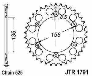 JT Kettenrad Stahl, Teilung 525, 1791