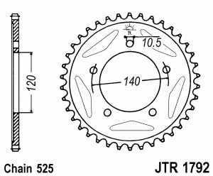 JT Kettenrad Stahl, Teilung 525, 1792