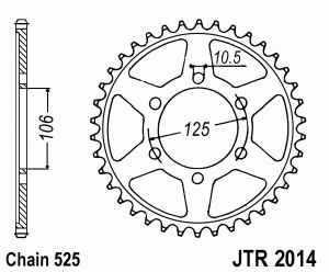 JT Kettenrad Stahl, Teilung 525, 2014,47