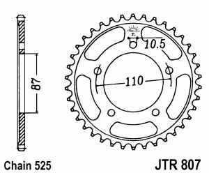 JT Kettenrad Stahl, Teilung 525, 807